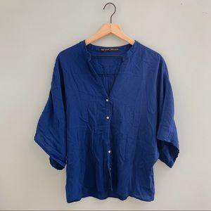 ZARA Button Down Kimono Blouse Royal Blue